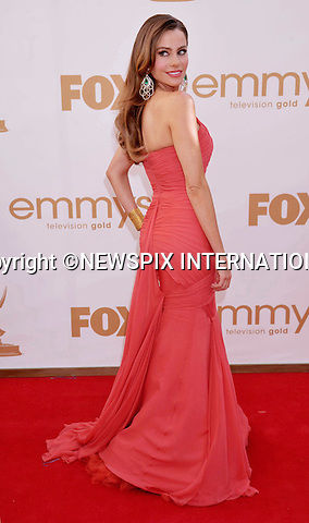 """SOFIA VERGARA.attends the Academy of Television Arts & Sciences 63rd Primetime Emmy Awards at Nokia Theatre L.A. Live, Los Angeles_18/09/2011.Mandatory Photo Credit: ©Crosby/Newspix International. .**ALL FEES PAYABLE TO: """"NEWSPIX INTERNATIONAL""""**..PHOTO CREDIT MANDATORY!!: NEWSPIX INTERNATIONAL(Failure to credit will incur a surcharge of 100% of reproduction fees).IMMEDIATE CONFIRMATION OF USAGE REQUIRED:.Newspix International, 31 Chinnery Hill, Bishop's Stortford, ENGLAND CM23 3PS.Tel:+441279 324672  ; Fax: +441279656877.Mobile:  0777568 1153.e-mail: info@newspixinternational.co.uk"""
