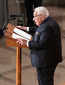 Former United States Secretary of State Henry Kissinger speaks at the funeral service for the late US Senator John S. McCain, III (Republican of Arizona) at the Washington National Cathedral in Washington, DC on Saturday, September 1, 2018.<br /> Credit: Ron Sachs / CNP<br /> <br /> (RESTRICTION: NO New York or New Jersey Newspapers or newspapers within a 75 mile radius of New York City)