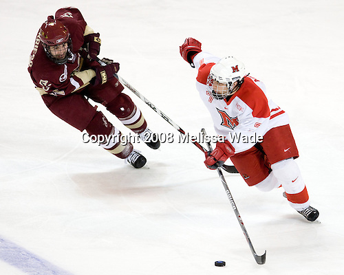 Benn Ferriero (BC - 21), Andy Miele (Miami - 7) - The Boston College Eagles defeated the Miami University Redhawks 4-3 in overtime on Sunday, March 30, 2008 in the NCAA Northeast Regional Final at the DCU Center in Worcester, Massachusetts.