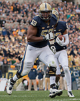 Pitt offensive guard Dorian Johnson (53) blocks for wide receiver Tyler Boyd (23). The Notre Dame Fighting Irish football team defeated the Pitt Panthers 42-30 on Saturday, November 7, 2015 at Heinz Field, Pittsburgh, Pennsylvania.