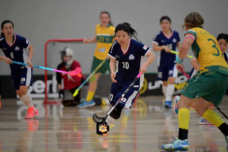Japan's Yuki Takahashi in action during the World Floorball Championships 2017 Qualification for Asia Oceania Region Final - Australia v Japan at ASB Sports Centre , Wellington, New Zealand on Sunday 5 February 2017.<br /> Photo by Masanori Udagawa<br /> www.photowellington.photoshelter.com.