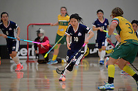Japan&rsquo;s Yuki Takahashi in action during the World Floorball Championships 2017 Qualification for Asia Oceania Region Final - Australia v Japan at ASB Sports Centre , Wellington, New Zealand on Sunday 5 February 2017.<br /> Photo by Masanori Udagawa<br /> www.photowellington.photoshelter.com.