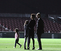 05.05.2012. Barcelona, Spain. Pep Guardiola with her family at center of empty Camp Nou