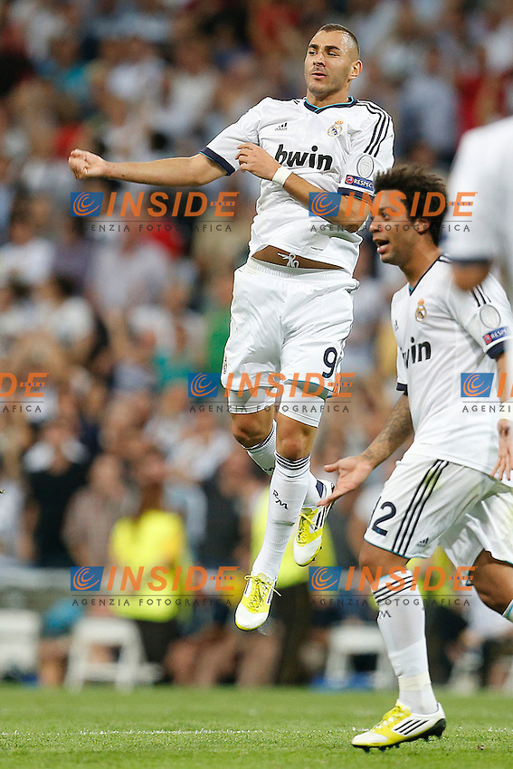 Real Madrid's Karim Benzema goal during Champions League match on september 18th 2012...Photo: Cesar Cebola  / ALFAQUI .Madrid 18/9/2012 Stadio Santiago Bernabeu.Football Calcio 2012/2013 Champions League.Real Madrid Vs Manchester City .Foto Insidefoto