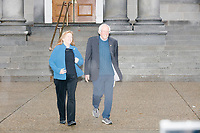 Accompanied by wife Jane O'Meara Sanders, Democratic presidential candidate and Vermont senator Bernie Sanders leaves the NH State House to address supporters after he filed the required paperwork and paid the $1000 filing fee to be on the 2020 Democratic presidential ballot in the NH Secretary of State's Office in Concord, New Hampshire, on Thu., October 31, 2019. As part of the filing process, Sanders signed a ceremonial primary ballot that is signed by all candidates in the race. Sanders was accompanied during the process by his wife Jane O'Meara Sanders.