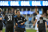 San Jose, CA - Saturday March 03, 2018: Chris Wondolowski celebrates a goal during a 2018 Major League Soccer (MLS) match between the San Jose Earthquakes and Minnesota United FC at Avaya Stadium.