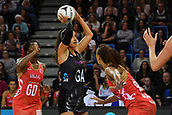 7th September 2017, Te Rauparaha Arena, Wellington, New Zealand; Taini Jamison Netball Trophy; New Zealand versus England;  Silver Ferns Maria Tutaia looks to shoot with Englands Geva Mentor and captain Ama Agbeze covering