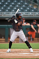 AZL Giants Black Richgelon Juliana (10) at bat during an Arizona League game against the AZL Athletics Gold on July 12, 2019 at Hohokam Stadium in Mesa, Arizona. The AZL Giants Black defeated the AZL Athletics Gold 9-7. (Zachary Lucy/Four Seam Images)