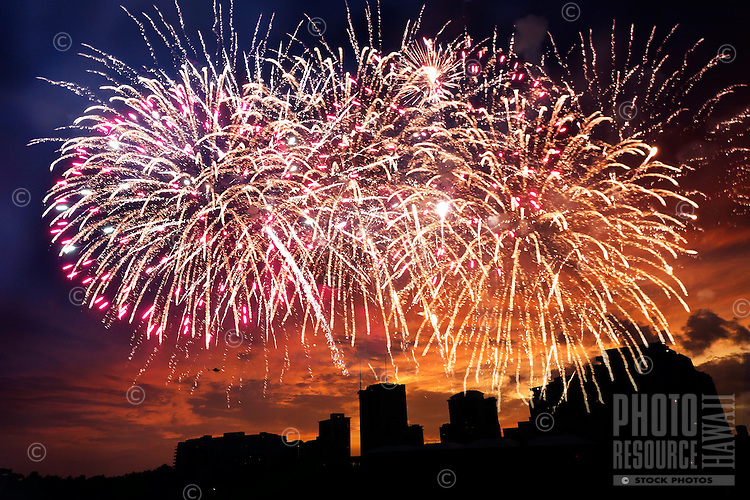 Spectacular Fourth of July fireworks in Waikiki, O'ahu.