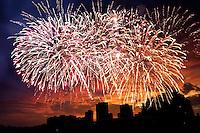 Spectacular Fourth of July fireworks in Waikiki, O'ahu.