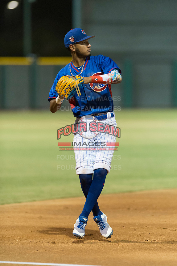 AZL Cubs 2 third baseman Luis Verdugo (18) during an Arizona League game against the AZL Indians 2 at Sloan Park on August 2, 2018 in Mesa, Arizona. The AZL Indians 2 defeated the AZL Cubs 2 by a score of 9-8. (Zachary Lucy/Four Seam Images)