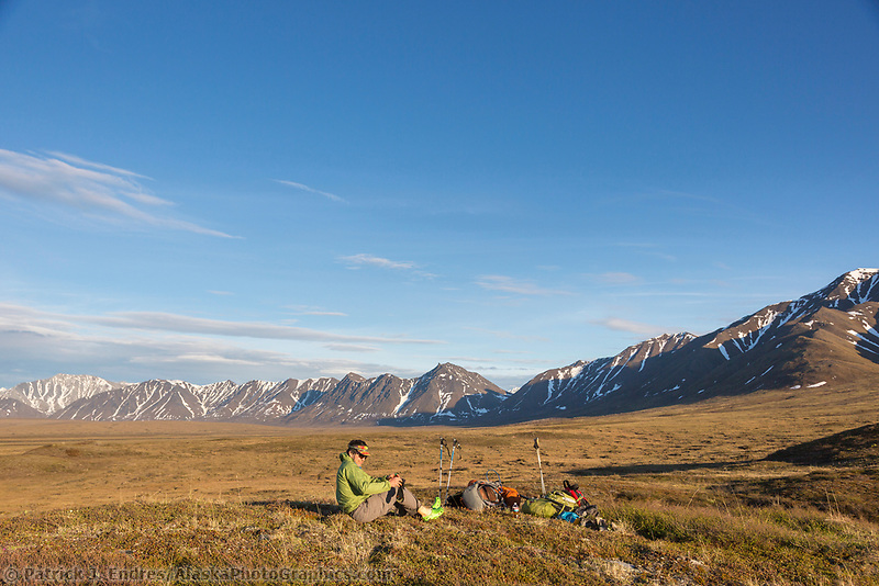 Backpacks on the tundra at campspot