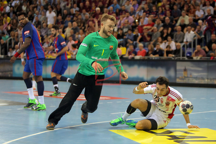 VELUX EHF <br /> 2016/17 EHF Men's Champions League Group Phase - Round 5.<br /> FC Barcelona Lassa vs Telekom Veszprem: 26-23.<br /> Gonzalo Perez de Vargas vs Cristian Ugalde.