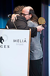 Mexican director Guillermo del Toro gives to Santiago Segura the 'Time Machine award' at Sitges Film Festival in Barcelona, Spain October 07, 2017. (ALTERPHOTOS/Borja B.Hojas)