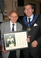 Sammy McCarthy, former British Featherweight Champion between 1954 and 1955, pictured at a celebration for his 80th Birthday with Stephen Powell (President of the London Ex-Boxers Association)