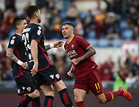 Football, Serie A: AS Roma - Cagliari, Olympic stadium, Rome, April 27, 2019. <br /> Roma's Aleksandar Kolarov celebrates after scoring during the Italian Serie A football match between AS Roma and Cagliari, on April 27, 2019. <br /> UPDATE IMAGES PRESS/Isabella Bonotto