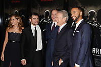 BURBANK, CA - FEBRUARY 05: (L-R) Actors Jenna Fischer, Alek Skarlatos, Spencer Stone, director/producer Clint Eastwood and actor Anthony Sadler arrive at the premiere of Warner Bros. Pictures' 'The 15:17 To Paris' at Warner Bros. Studios, SJR Theater on February 5, 2018 in Burbank, California.<br /> CAP/ROT/TM<br /> &copy;TM/ROT/Capital Pictures