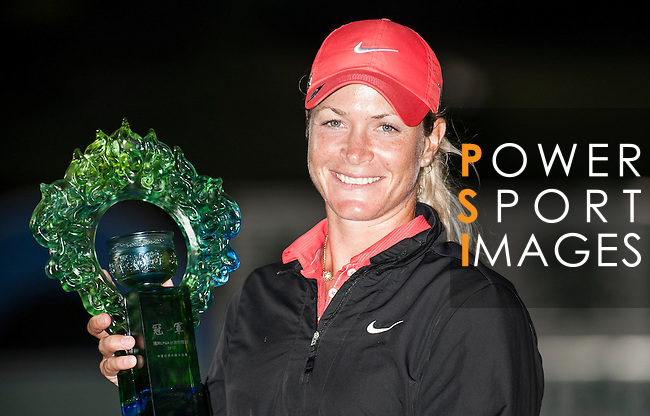 TAOYUAN, TAIWAN - OCTOBER 28:  Suzann Pettersen of Norway poses with the trophy after winning the Sunrise LPGA Taiwan Championship at the Sunrise Golf Course on October 28, 2012 in Taoyuan, Taiwan.  Photo by Victor Fraile / The Power of Sport Images