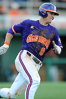 Third Baseman Richie Shaffer #8 rounds first on a double down the left field line to break open a 1-1 tie during a  game against the Miami Hurricanes at Doug Kingsmore Stadium on March 31, 2012 in Clemson, South Carolina. The Tigers won the game 3-1. (Tony Farlow/Four Seam Images).