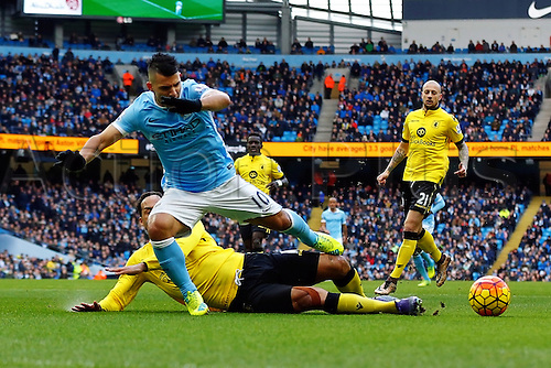 05.03.2016. The Etihad, Manchester, England. Barclays Premier League. Manchester City versus Aston Villa. Sergio Aguero of Manchester City is tackled by Lescot in the penalty area to save a good chance for City