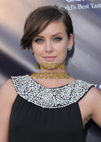 JESSICA STROUP .at the 9th Annual Chrysalis Butterfly Ball held at  a private residence in Brentwood, California, USA, .June 5th 2010..portrait headshot black  silver beaded neckline collar earrings .CAP/RKE/DVS.©DVS/RockinExposures/Capital Pictures.
