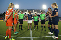 Cary, North Carolina  - Saturday September 09, 2017: Melissa Mewis flips the coin prior to a regular season National Women's Soccer League (NWSL) match between the North Carolina Courage and the Houston Dash at Sahlen's Stadium at WakeMed Soccer Park. The Courage won the game 1-0.