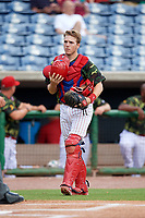 Clearwater Threshers catcher Henri Lartigue (8) during a game against the Florida Fire Frogs on June 2, 2018 at Spectrum Field in Clearwater, Florida.  Clearwater defeated Florida 10-6.  (Mike Janes/Four Seam Images)