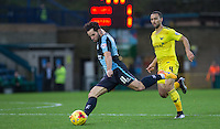 Sam Wood of Wycombe Wanderers prepares for a shot at goal  during the Sky Bet League 2 match between Wycombe Wanderers and Oxford United at Adams Park, High Wycombe, England on 19 December 2015. Photo by Andy Rowland.