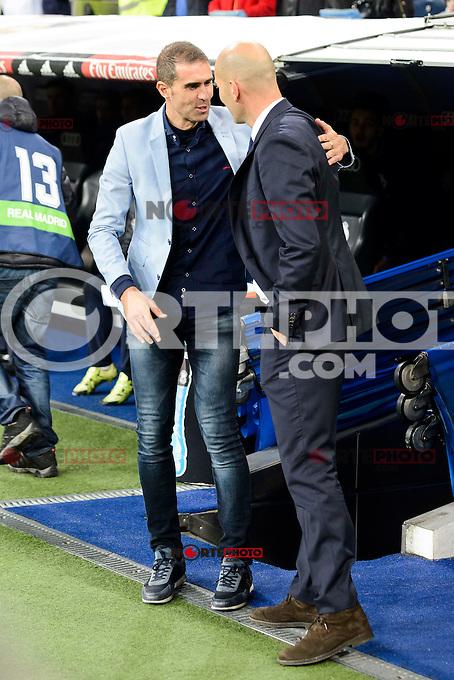 Real Madrid coach Zinedine Zidane and Deportivo de la Coruña coach Gaizka Garitaño during La Liga match between Real Madrid and Deportivo de la Coruña at Santiago Bernabeu Stadium in Madrid, Spain. December 10, 2016. (ALTERPHOTOS/BorjaB.Hojas) /NORTEPHOTO.COM