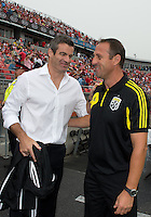 July 20, 2013: Toronto FC head coach Ryan Nelsen talks with Columbus Crew head coach Robert Warzycha after the opening ceremonies in a game between Toronto FC and the Columbus Crew at BMO Field in Toronto, Ontario Canada.<br /> Toronto FC won 2-1.