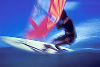 Windsurfer, blurred action shot, Hawaii