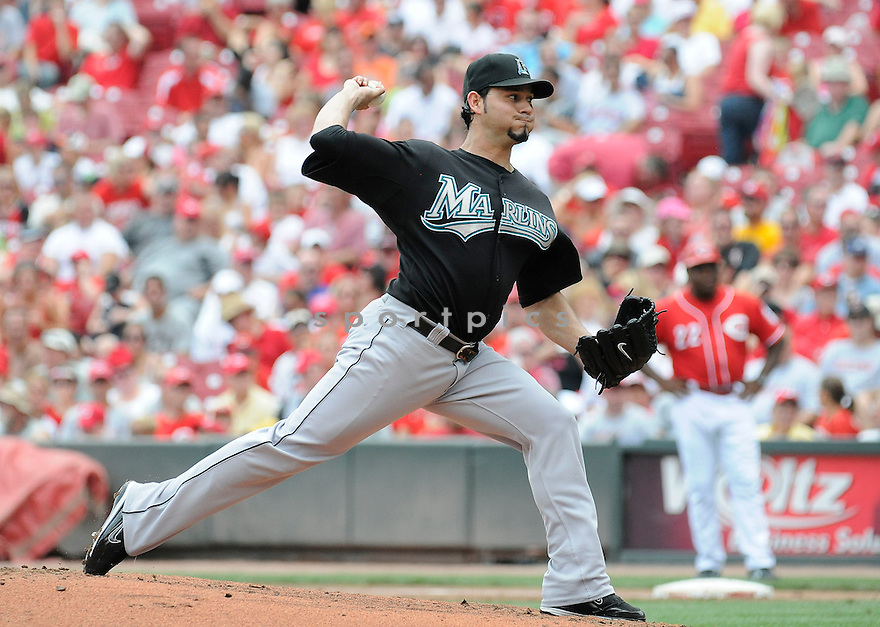 ANIBAL SANCHEZ, of  the Florida Marlins, in action during the Marlins game against the Cincinnati Reds at Great American Ball Park in Cincinnati, Ohio  on August 15, 2010.   Reds won the game 2-0...