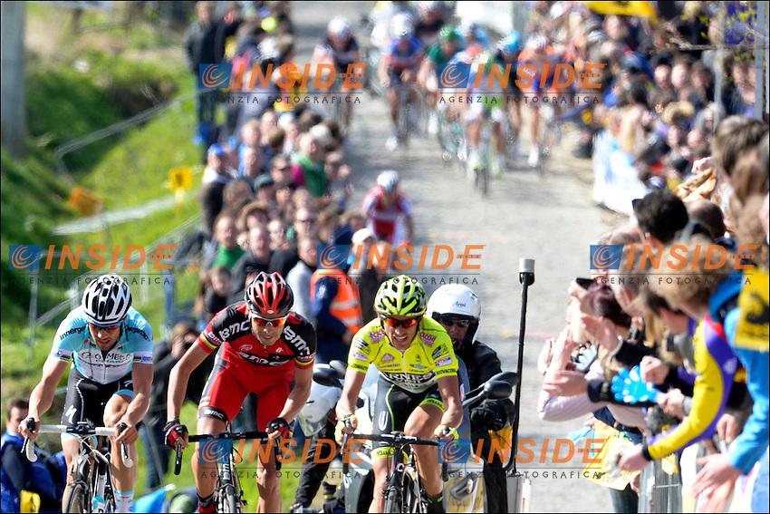 POZZATO Filippo of Team Farnese Vini - Selle Italia - BALLAN Alessandro of Team BMC - BOONEN Tom of Team Omega Pharma - Quickstep  .OUDENAARDE AUDENARDE 1/4/2012.Ciclismo Giro delle Fiandre.Foto Insidefoto / Photo News / Panoramic.ITALY ONLY .ITALY ONLY