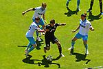 Uerdingens Matuschyk Adam (Nr.31) gegen v.l. Waldhofs Jan Hendrik Marx (Nr.26), Waldhofs Max Christiansen (Nr.13) und Waldhofs Valmir Sulejmani (Nr.9)  beim Spiel in der 3. Liga, SV Waldhof Mannheim - KFC Uerdingen 05.<br /> <br /> Foto © PIX-Sportfotos *** Foto ist honorarpflichtig! *** Auf Anfrage in hoeherer Qualitaet/Aufloesung. Belegexemplar erbeten. Veroeffentlichung ausschliesslich fuer journalistisch-publizistische Zwecke. For editorial use only. DFL regulations prohibit any use of photographs as image sequences and/or quasi-video.