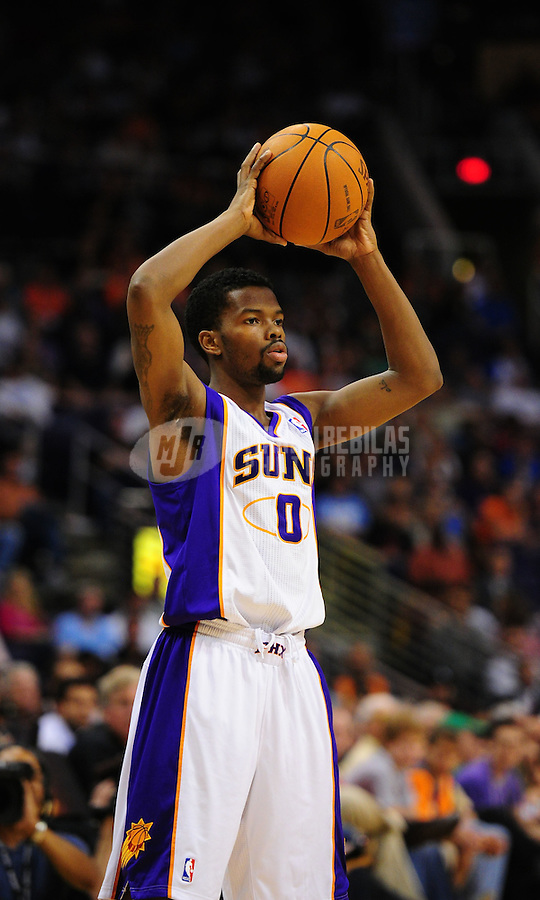 Mar. 27, 2011; Phoenix, AZ, USA; Phoenix Suns guard (0) Aaron Brooks against the Dallas Mavericks at the US Airways Center. The Maverick defeated the Suns 91-83. Mandatory Credit: Mark J. Rebilas-
