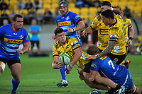 Ricky Riccatelli gets a pass away during the Super Rugby match between the Hurricanes and Stormers at Westpac Stadium in Wellington, New Zealand on Saturday, 23 March 2019. Photo: Dave Lintott / lintottphoto.co.nz
