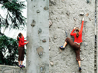 Rock Climbing on the practice wall at The University of Washington Campus, Seattle, WA.