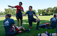20170717 - RIJEN , NETHERLANDS :  Belgian Tamara Cassimon (left)  pictured with Aline Zeler (r) during a training session of the Belgian national women's soccer team Red Flames on the pitch of Rijen , on Tuesday 18 July 2017 in Rijen . The Red Flames are at the Women's European Championship 2017 in the Netherlands. PHOTO SPORTPIX.BE | DAVID CATRY