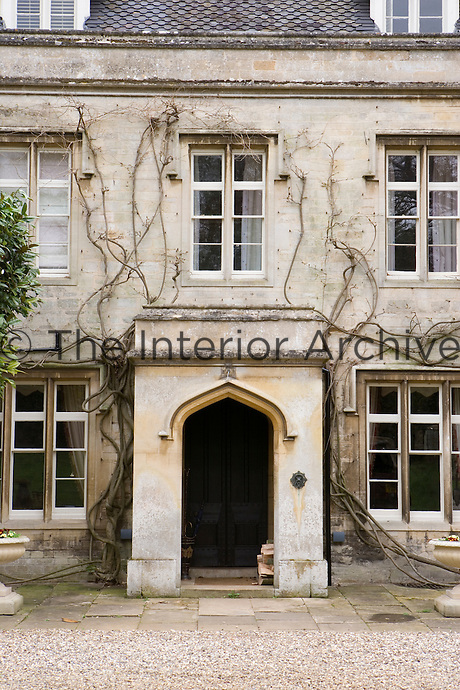 Front exterior entrance to country manor house