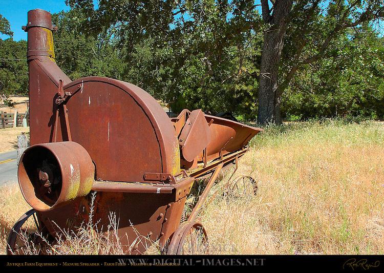 Antique Farm Equipment, Manure Spreader, Farm Field, Mariposa, California