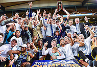 MAR 7, 2016: Baltimore, MD - North Carolina-Wilmington Seahawks celebrate after winning the 2016 CAA Basketball Tournament at Royal Farms Arena in Baltimore, Maryland. (Photo by Philip Peters/Media Images International)