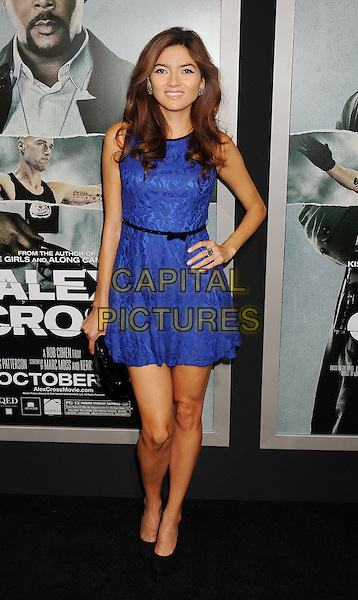 Blanca Blanco.arriving at the Los Angeles premiere of 'Alex Cross' at the ArcLight Cinemas Cinerama Dome in Hollywood, California, USA, October 15th 2012. .full length blue dress hand on hip sleeveless black belt .CAP/ROT/TM.©Tony Michaels/Roth Stock/Capital Pictures