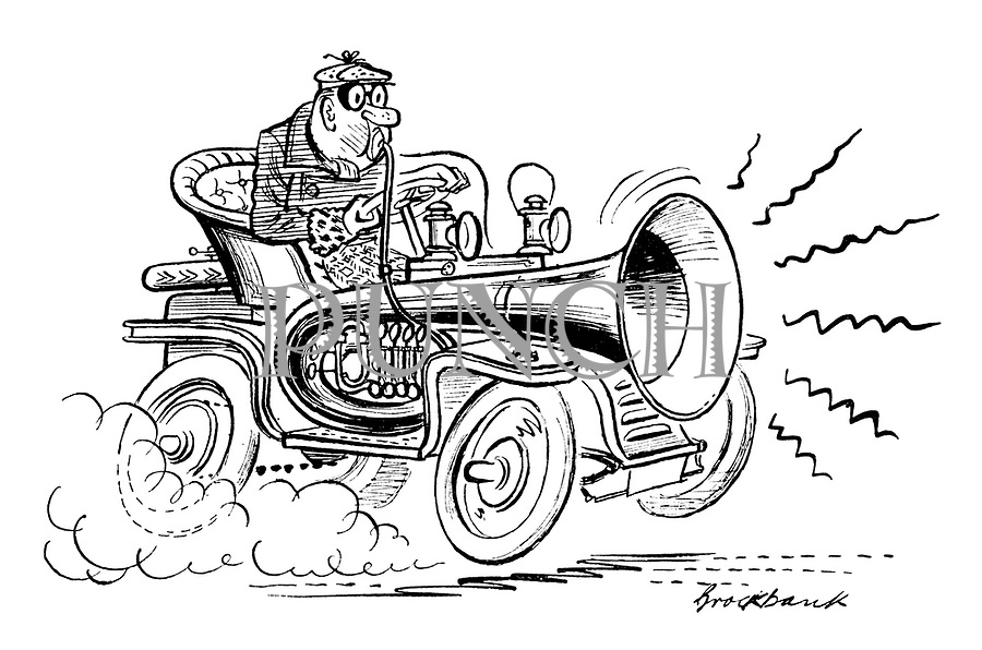 (A man speeding in a vintage car blows on an enormous horn)