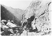 Frontal view of D&amp;RG Mogul #13 &quot;Santa Clara&quot; stopped in the Black Canyon for the passengers to admire the scene.<br /> D&amp;RG  Black Canyon, MP 322, CO  1876-1889