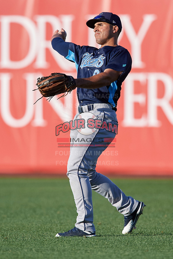 Corpus Christi Hooks right fielder Ramon Laureano (9) throws the ball in during a game against the Springfield Cardinals on May 30, 2017 at Hammons Field in Springfield, Missouri.  Springfield defeated Corpus Christi 4-3.  (Mike Janes/Four Seam Images)