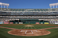 OAKLAND, CA - AUGUST 24:  Overall interior scenic ground level view from behind home plate before the game between the Los Angeles Angels of Anaheim and Oakland Athletics at O.co Coliseum on Sunday, August 24, 2014 in Oakland, California. Photo by Brad Mangin