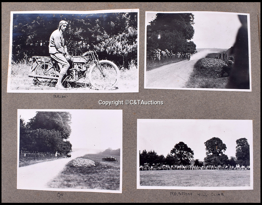BNPS.co.uk (01202 558833)<br /> Pic: C&TAuctions/BNPS<br /> <br /> When not risking their lives in the air the officers took part in motorbike racing and hill climbs.<br /> <br /> A fascinating photo album which documents the adventures of a captain in the fledgling Royal Naval Air Service has been unearthed after 100 years.<br /> <br /> The photos were compiled by Captain Denis Carey who was based in Maidstone, Kent, and they provide a fascinating insight into the air arm of the Royal Navy during the First World War.<br /> <br /> They show the thrills and spills of the pioneering early days of aviation in a world before health and safety had been invented.