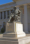 Sculpture statue of seated Velazquez, Museo del Prado, museum art gallery, Madrid, Spain by A Marinas