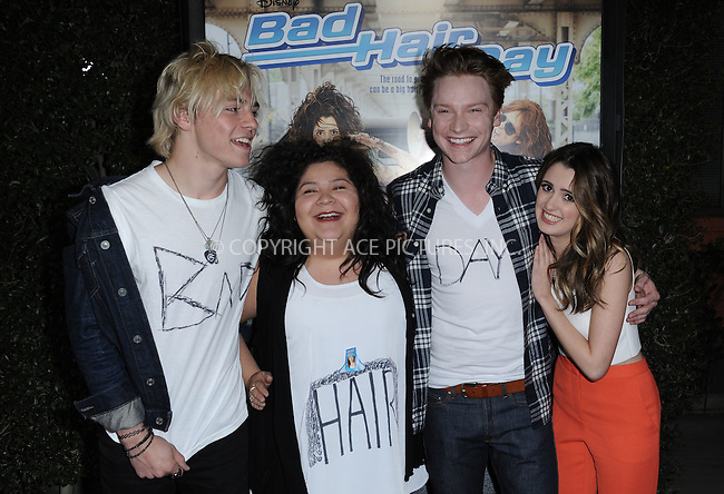 WWW.ACEPIXS.COM<br /> <br /> February 10 2015, LA<br /> <br /> Ross Lynch, Raini Rodriguez, Calum Worthy, Laura Marano arriving at the Disney Channel Original Movie 'Bad Hair Day' Los Angeles Premiere at Walt Disney Studios on February 10, 2015 in Burbank, California.<br /> <br /> <br /> By Line: Peter West/ACE Pictures<br /> <br /> <br /> ACE Pictures, Inc.<br /> tel: 646 769 0430<br /> Email: info@acepixs.com<br /> www.acepixs.com