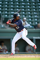 Left fielder Marion Campana (23) of the Greenville Drive bats in Game 1 of a doubleheader against the Rome Braves on Friday, August 3, 2018, at Fluor Field at the West End in Greenville, South Carolina. Rome won, 7-6. (Tom Priddy/Four Seam Images)